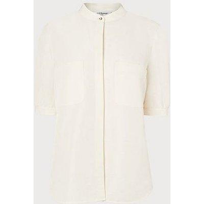 Eilana Cream Linen Silk Blouse, Cream