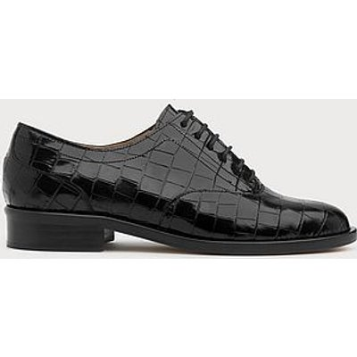 Jamie Black Croc-Effect Leather Brogues