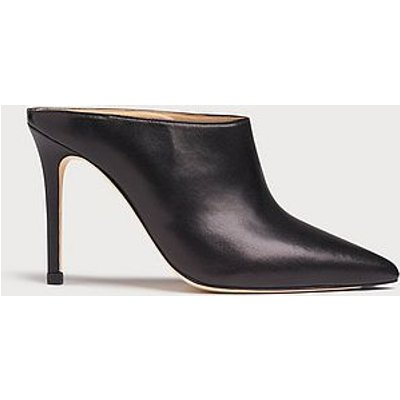 Hannah Black Leather Mules