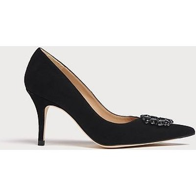 Harmony Black Suede Crystals Pointed Toe Courts, Black