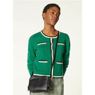 Mariel Black Croc Effect Shoulder Bag, Black
