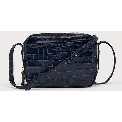 Mariel Navy Croc Effect Shoulder Bag, Navy
