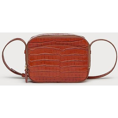 Mariel Tan Croc Effect Shoulder Bag, Tan