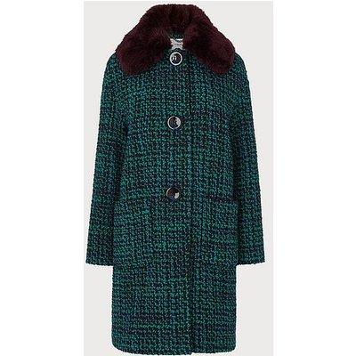 Aster Multi Tweed Faux Fur Collar Coat