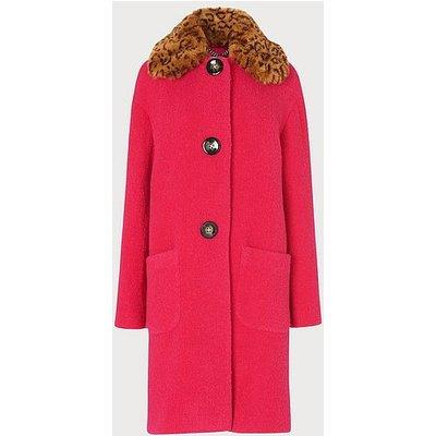 Aster Pink Boucle Faux Fur Collar Coat