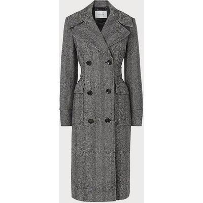 Aurelia Herringbone Wool-Blend Coat, Grey