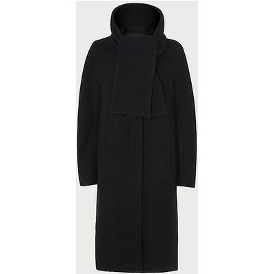 Mimi Black Wool Cocoon Coat, Black