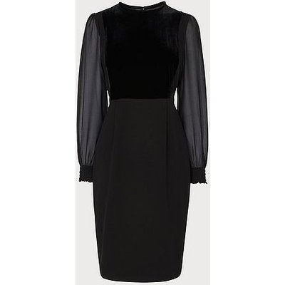 Aggie Black Velvet Crepe Dress, Black