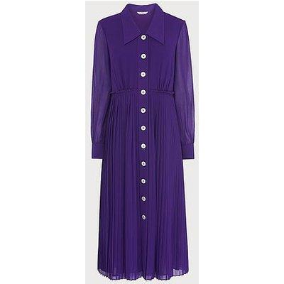 Fozette Purple Pleated Shirt Dress, Violet