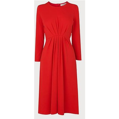 Luna Red Ruched Dress, Red
