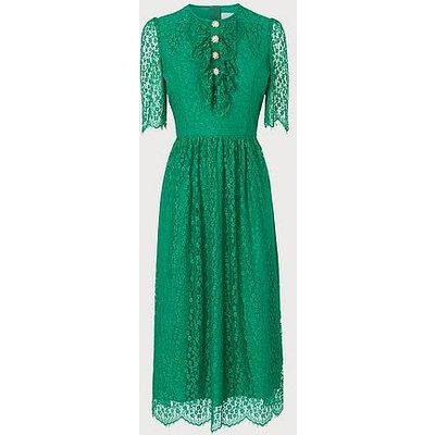 Mallory Green Lace Bow Tea Dress, Green