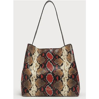 Helena Red Snake Print Tote Bag