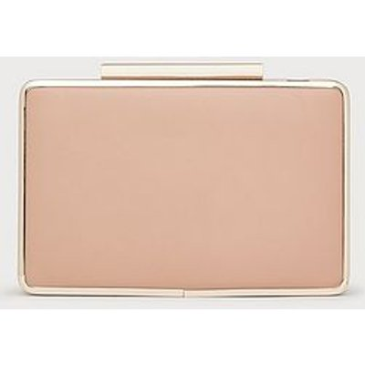 Nina Nude Leather Box Clutch, Trench