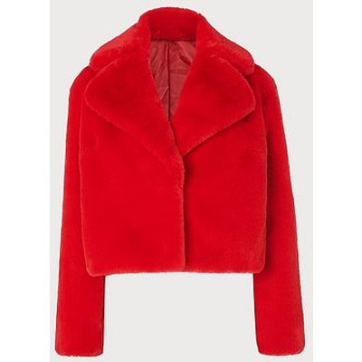 Ruby Red Faux Fur Short Coat