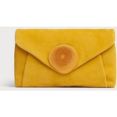 Olivia Yellow Suede Clutch
