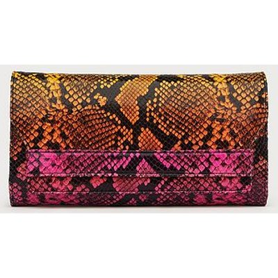 Ella Pink & Orange Snake Print Leather Clutch