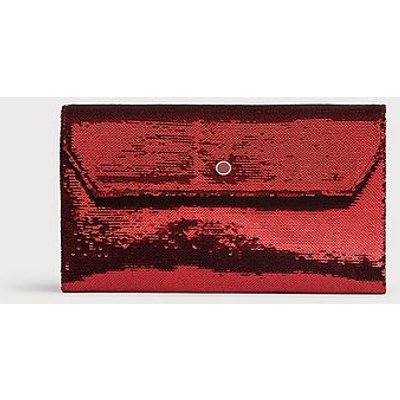 Dora Burgundy Sequin Clutch