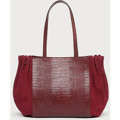 Grace Burgundy Lizard Effect Tote Bag