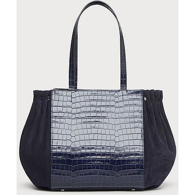 Grace Navy Croc Effect Tote Bag