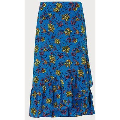 Florentin Blue Iris Print Silk Wrap Skirt, Ultrablue