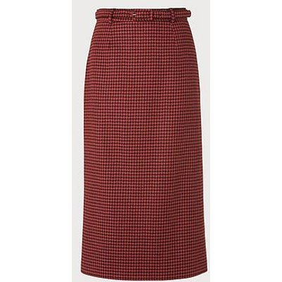 Ingrid Houndstooth Wool-Blend Pencil Skirt, Orange