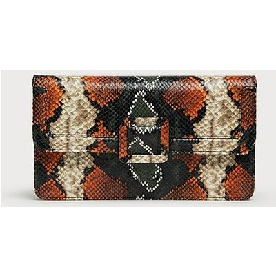 Beth Orange Green Snake Print Clutch