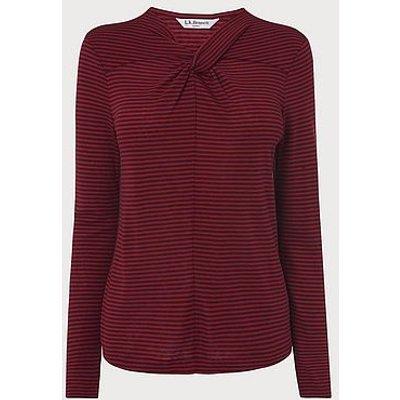 Sicily Pink Twist Neck Striped Jersey Top