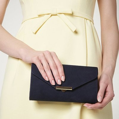 Lucy Navy Suede Envelope Clutch, Navy