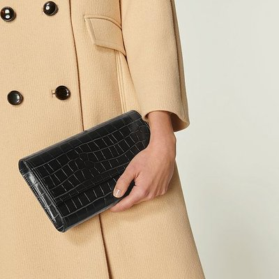 Dayana Teal Croc-Effect Leather Clutch, Teal