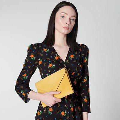 Della Mustard Suede Envelope Clutch, Yellow