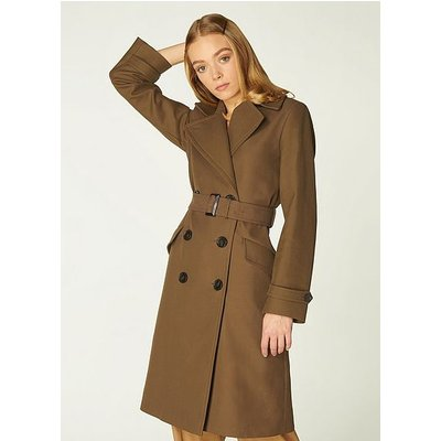 Milo Olive Cotton Double-Breasted Coat, Olive