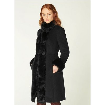 Perris Black Wool-Blend & Faux Fur Trim Coat, Black