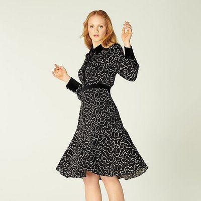 Anais Black Pearl Print Tea Dress, Black