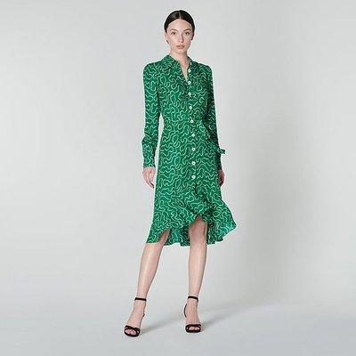 Billie Green Pearl Print Ruffle Hem Silk Shirt Dress, Emerald