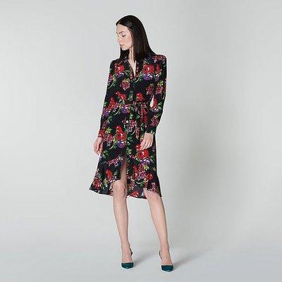 Billie Floral Print Ruffle Hem Satin Shirt Dress, Multi
