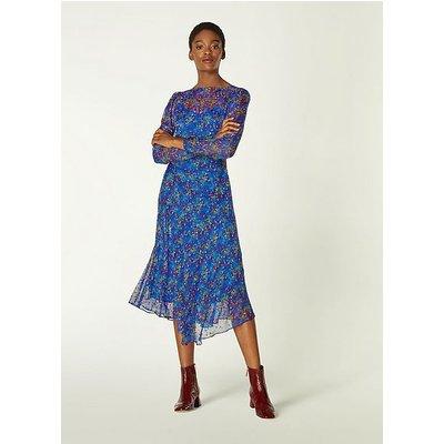 Bloomsbury Blue Floral Devoré Midi Dress, Electric