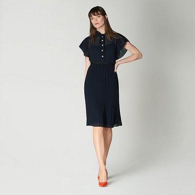 Brooks Navy Pleated Dress, Midnight