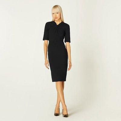 Caterina Black Crepe Shift Dress, Black