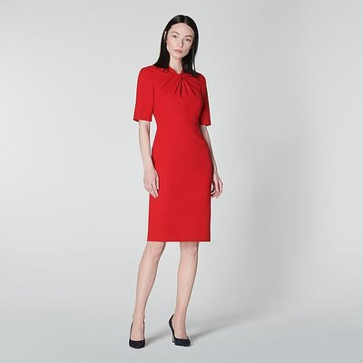 Caterina Red Crepe Shift Dress, Deep Red
