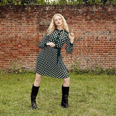 Cora Green & Cream Spot Print Pleated Dress, Green