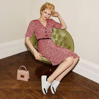 Daphne Pink Rope Print Dress, Multi