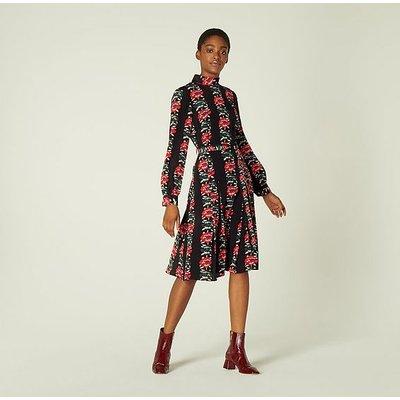 Eames Floral Stripe Silk Dress, Multi