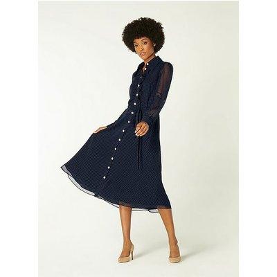 Ensor Navy Polka Dot Shirt Dress, Navy
