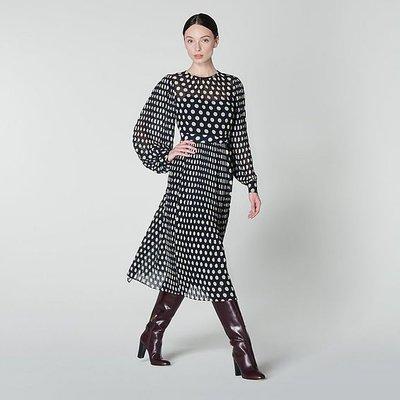Felix Navy & Ivory Spot Pleated Dress, Multi