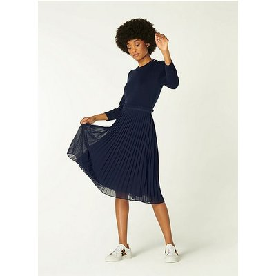 Loren Navy Merino Wool Pleated Dress, Midnight