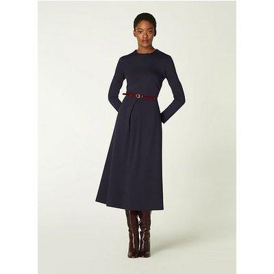 Maria Navy Jersey Fit & Flare Dress, Midnight