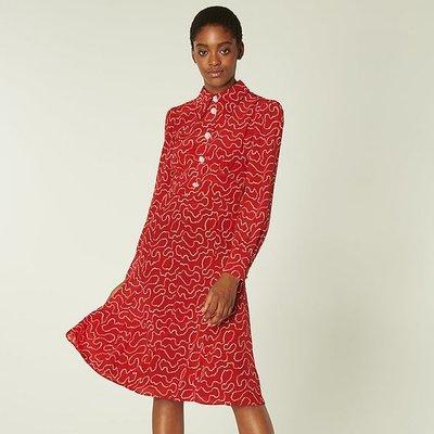 Mathilde Red & Cream Pearl Print Silk Tea Dress, Red Multi
