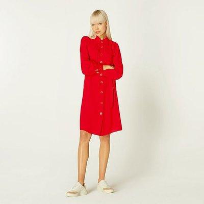 Miller Red Crepe Shirt Dress, Deep Red