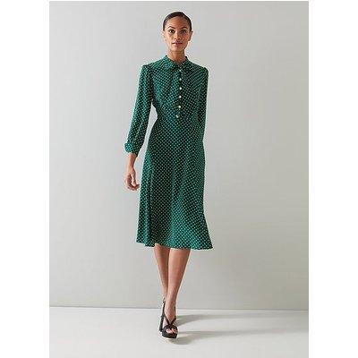 Mortimer Green & Cream Polka Dot Silk Dress, Green