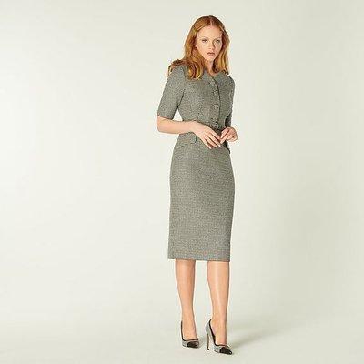 Nina Black & White Dogtooth Check Dress, Cream
